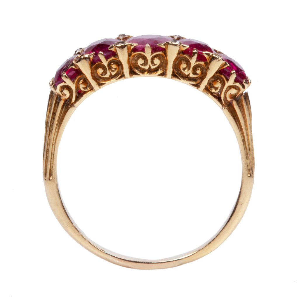 Late Victorian Era Five Stone Ruby and DIamond Ring