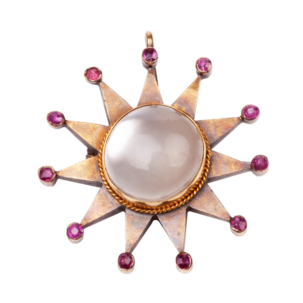 Late Victorian Moonstone and Ruby Star Pendant and Lion Tassie