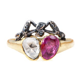 Georgian Ruby & Diamond Twin Heart Ring