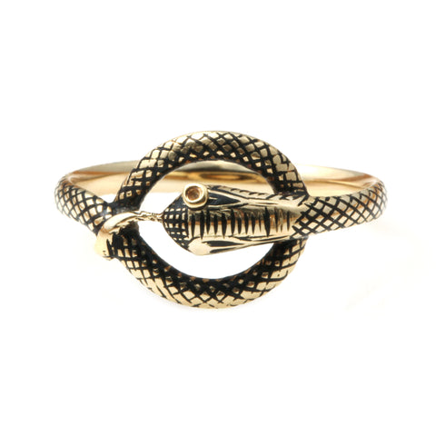 Early Victorian Black Enamel Snake Ring