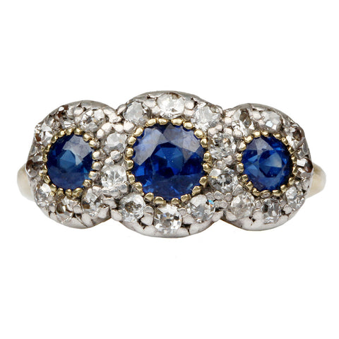 19th Century Triple Sapphire and Diamond Cluster Ring