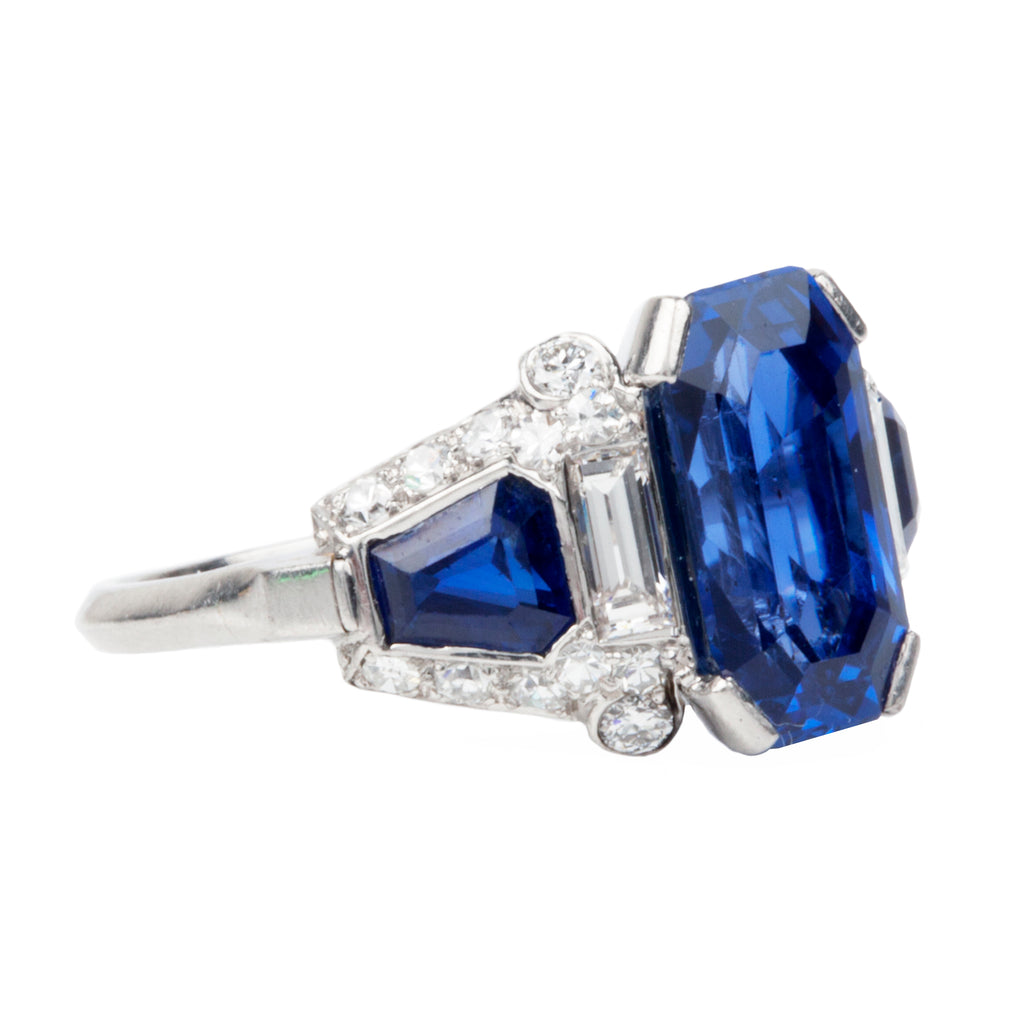 Antique 4.6 Carat Unheated Ceylon Sapphire and Diamond Platinum Ring