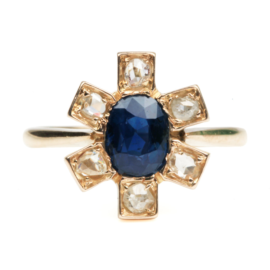 Late Victorian Sapphire and Diamond Ring