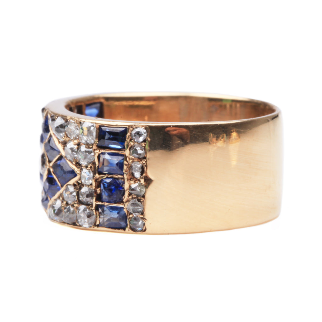 Victorian Old Mine Cut Diamond and Sapphire Band