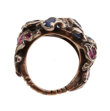19th Century Garden Ring with Sapphires and Rubies