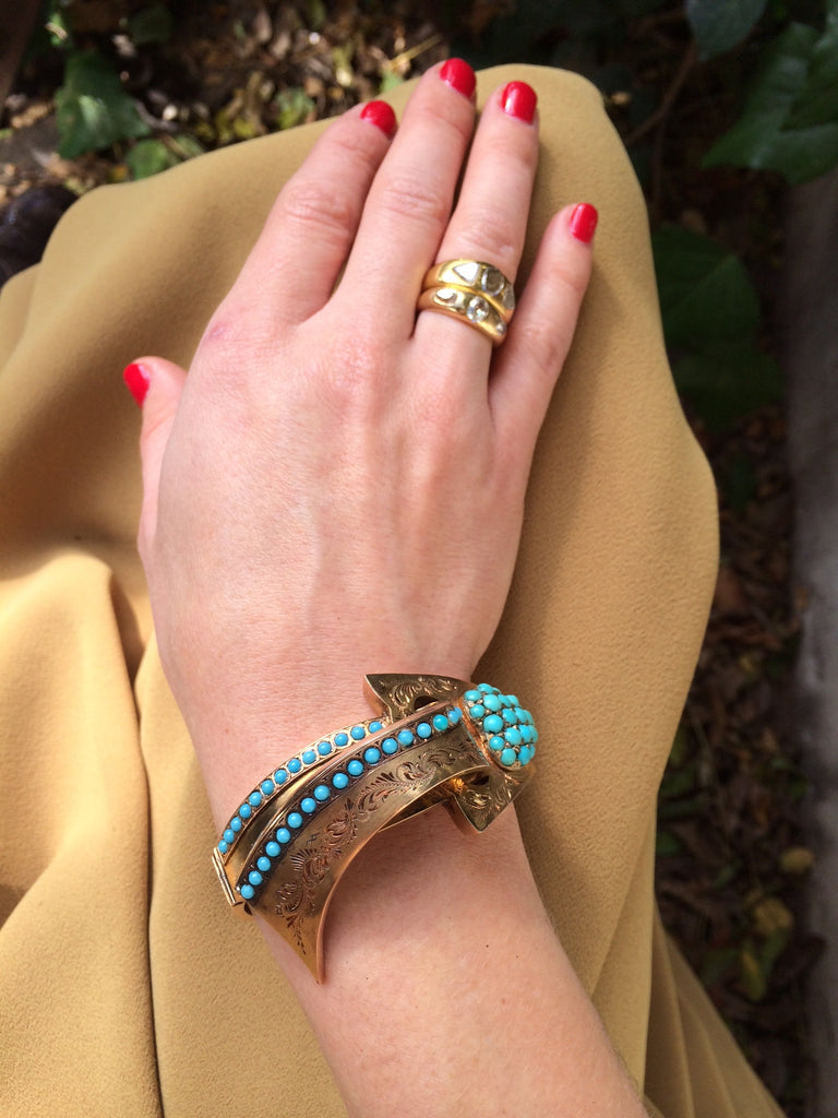 Victorian Gold and Turquoise Heart and  Ribbon Bangle