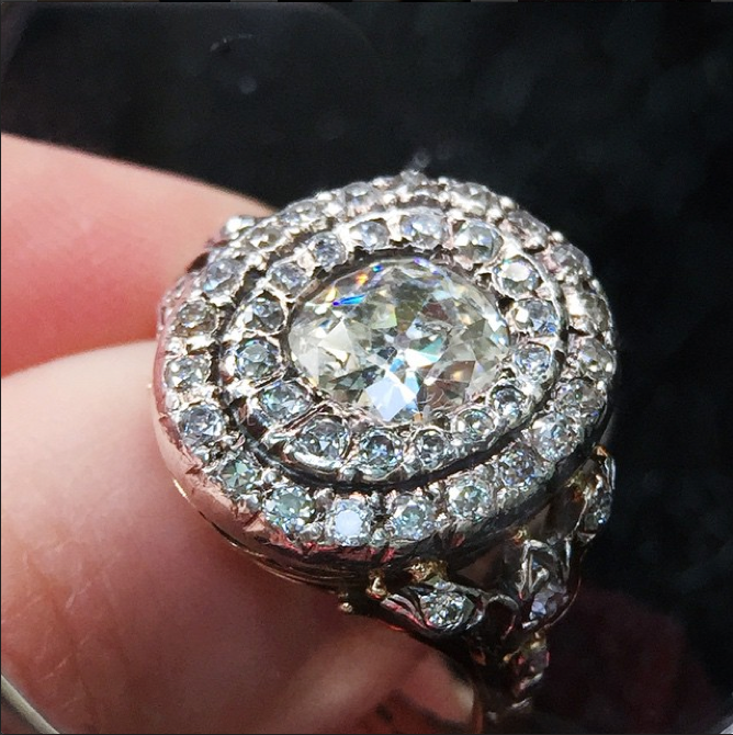 Edwardian Double Halo Old Mine Cut Diamond Ring