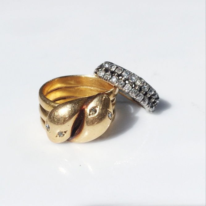 Victorian Era Gold Twin Snake Ring