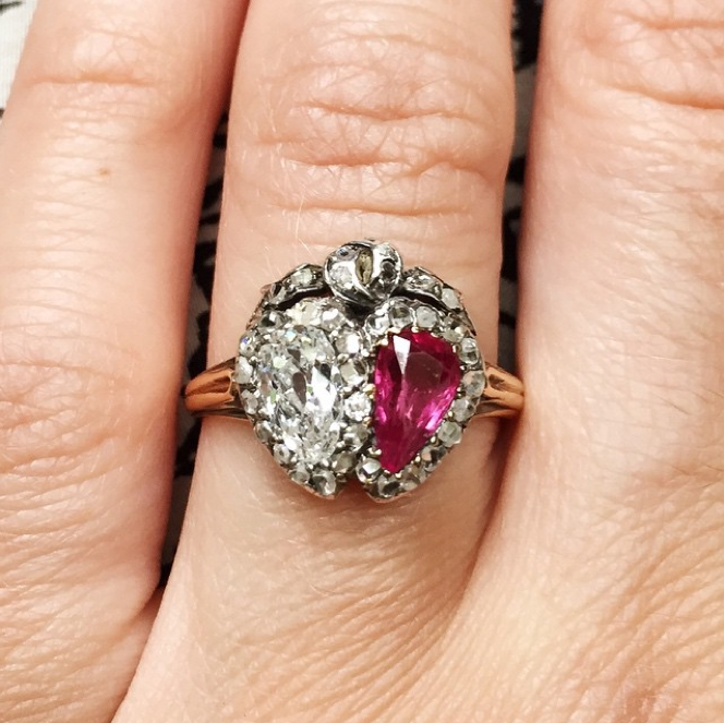 Late 19th Century Era Old Mine Cut Diamond and Ruby Twin Heart Ring Reserved*
