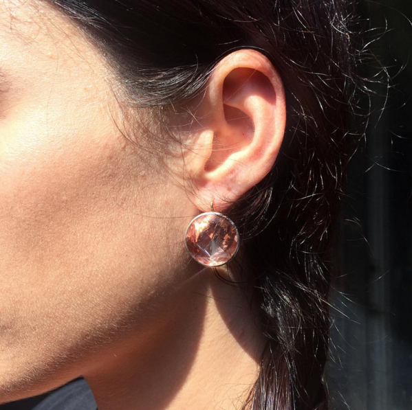 Georgian Rock Crystal Peach Earrings