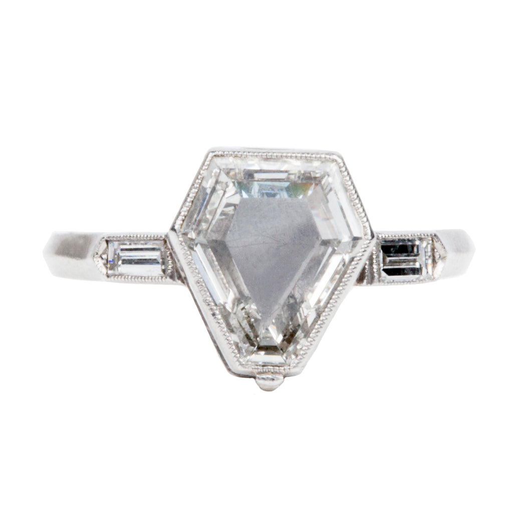 Art Deco Calf Cut Diamond Locket Ring