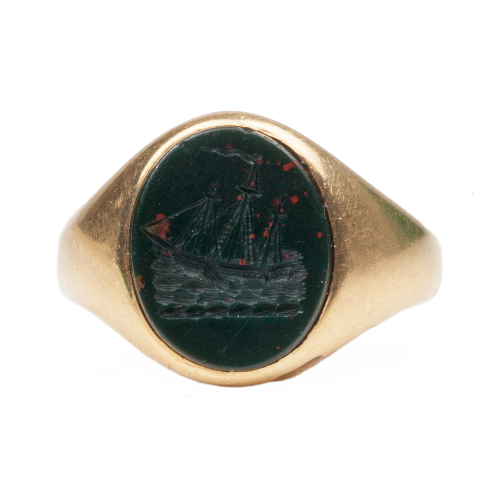Victorian Bloodstone Ship Intaglio Ring
