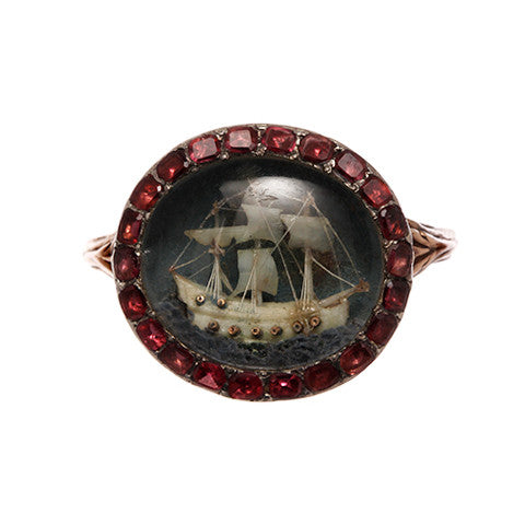 Georgian Nelson Era Micro Carved Ship Ring