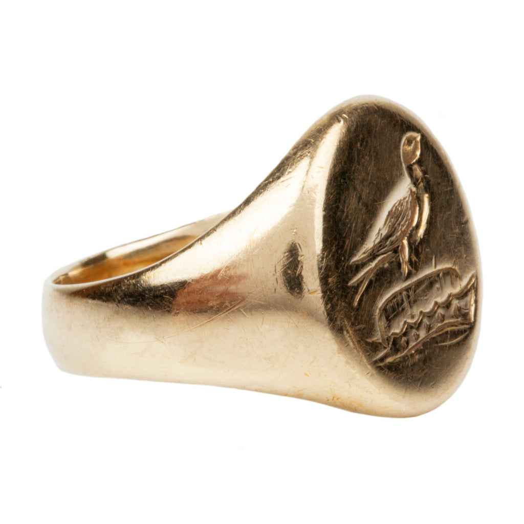 Victorian Era Signet Ring with Bird and Crown