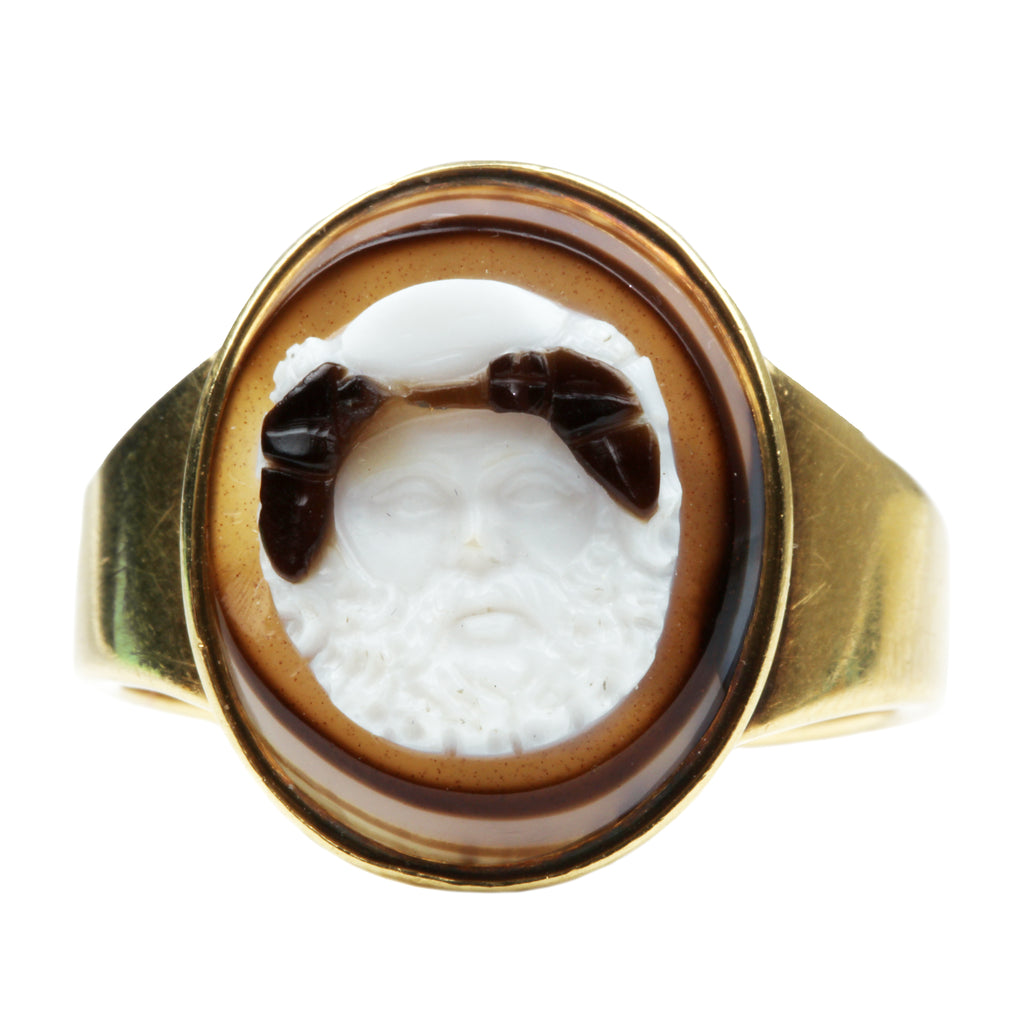19th Century Silenus Mask Cameo Ring