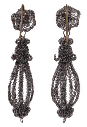 Early 19th Century Prussian-Silesian Iron Wire-Work Earrings