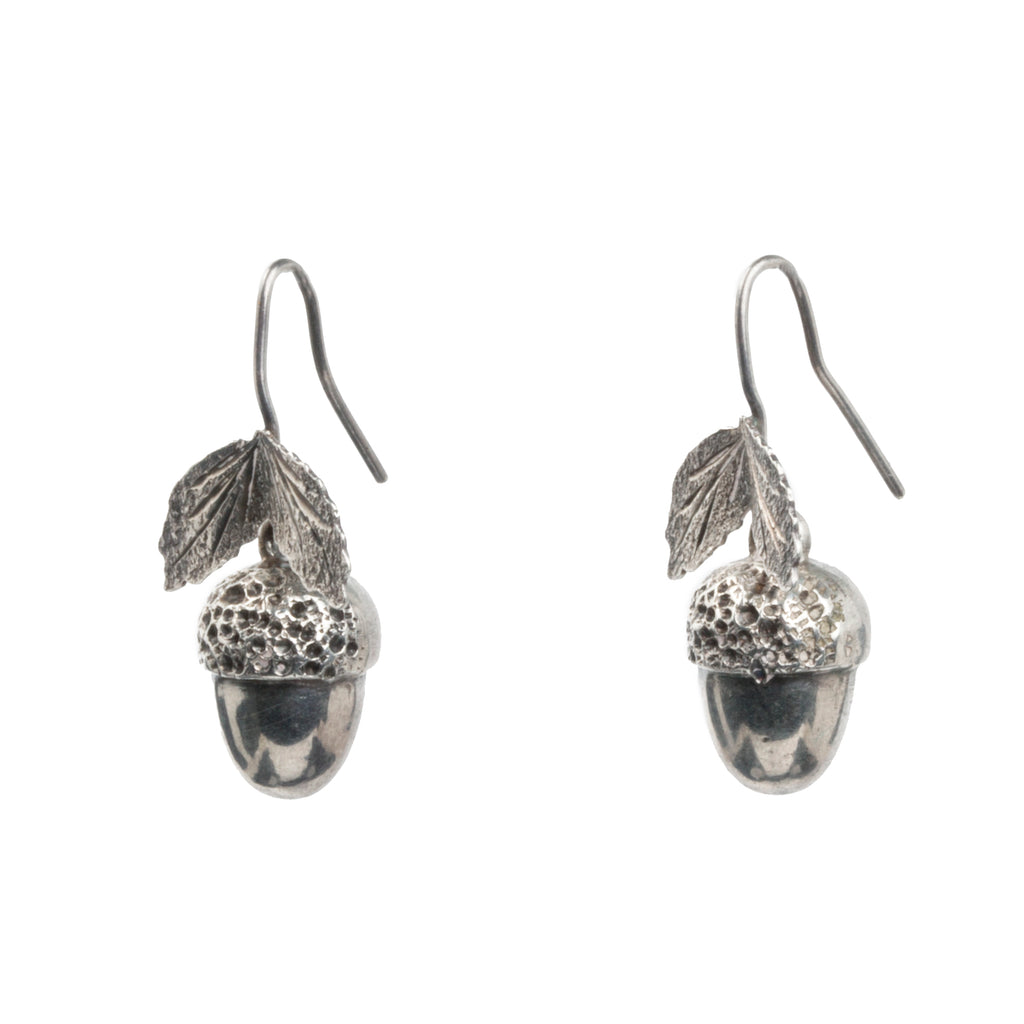 Victorian Era Acorn Silver Earrings