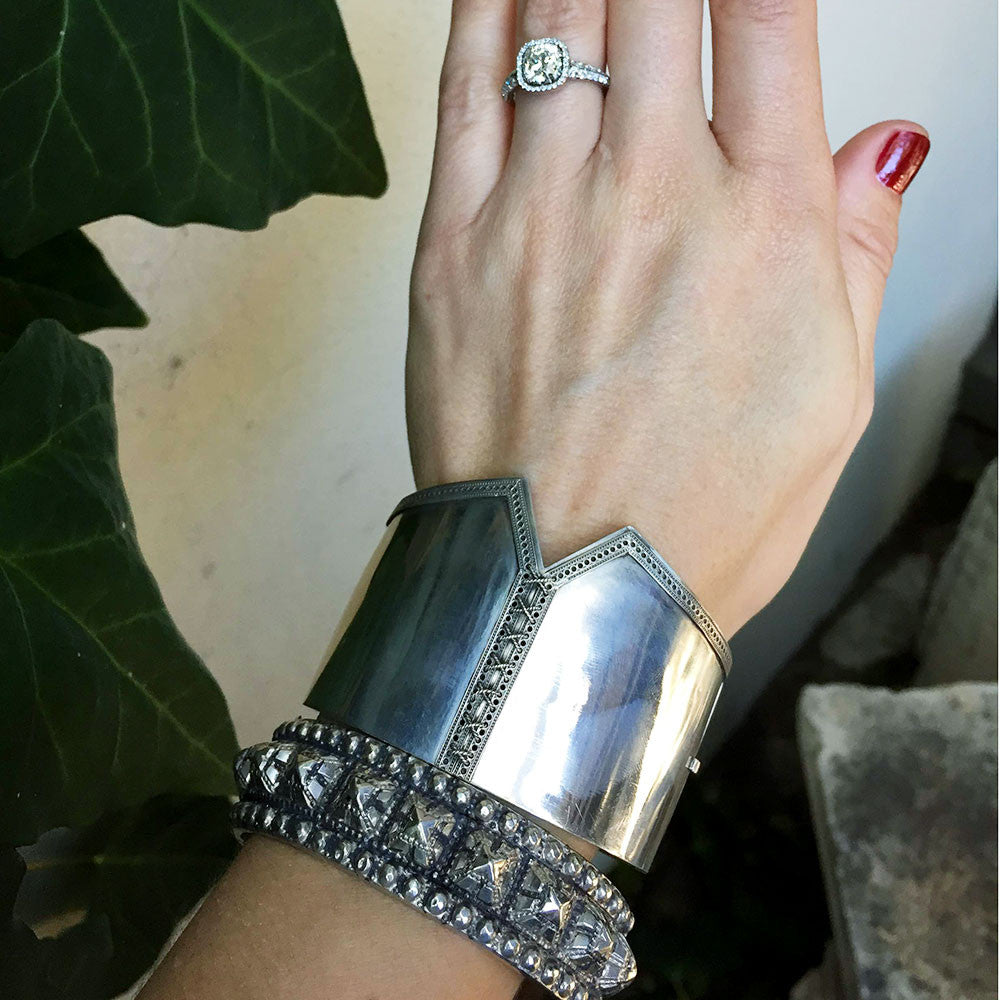 Victorian Sterling Silver Studded Bangle