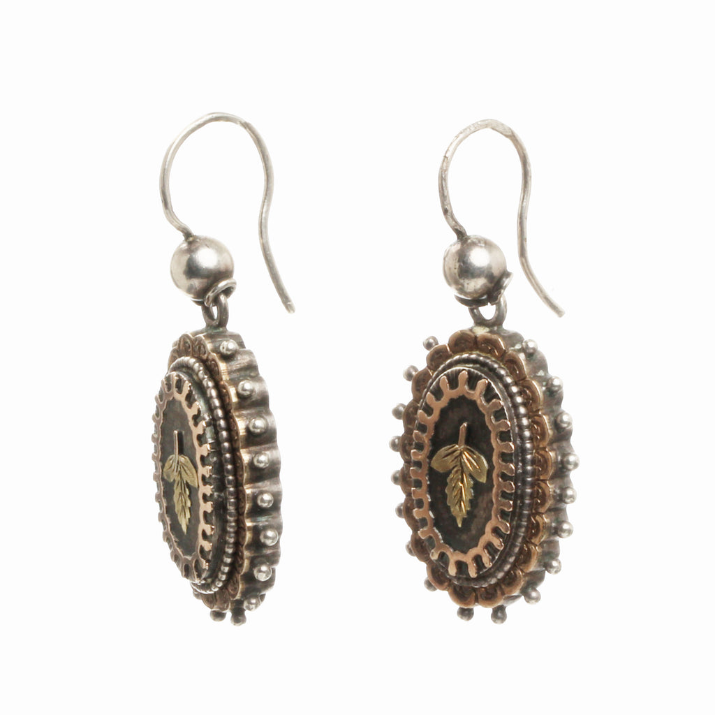 Victorian Silver and Gold Leaf Earrings