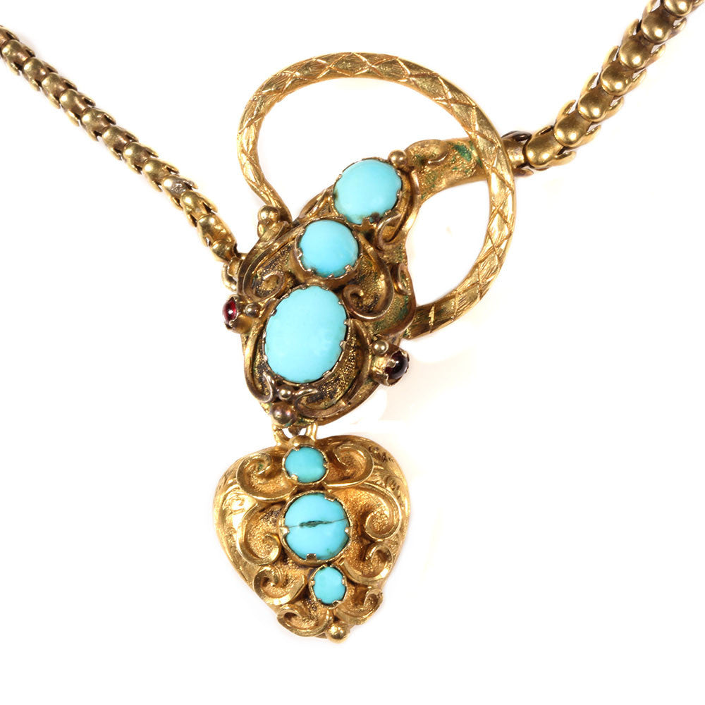 Victorian Turquoise & Gold Snake Necklace in Fitted Box