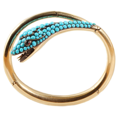 Victorian Gold & Turquoise Snake Bangle