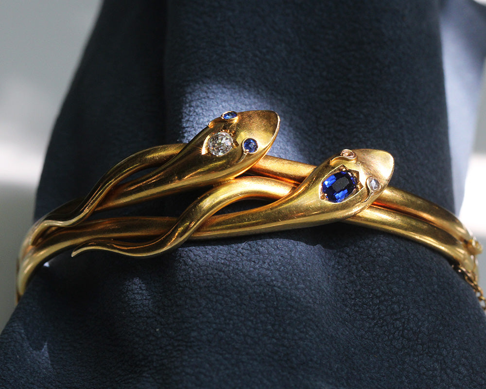 Victorian Sapphire and Diamond Twin Snake Bracelet