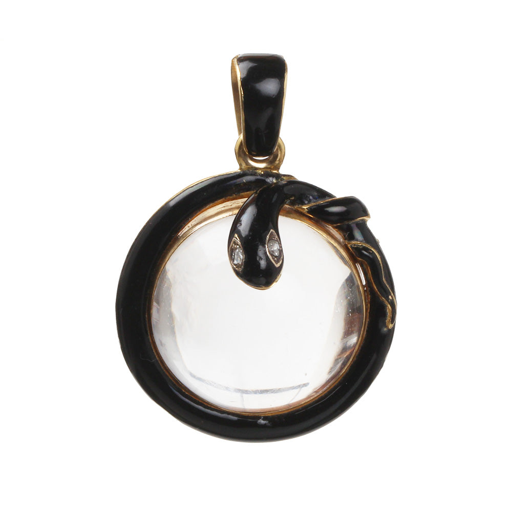 19th Century Black Enamel Snake Locket