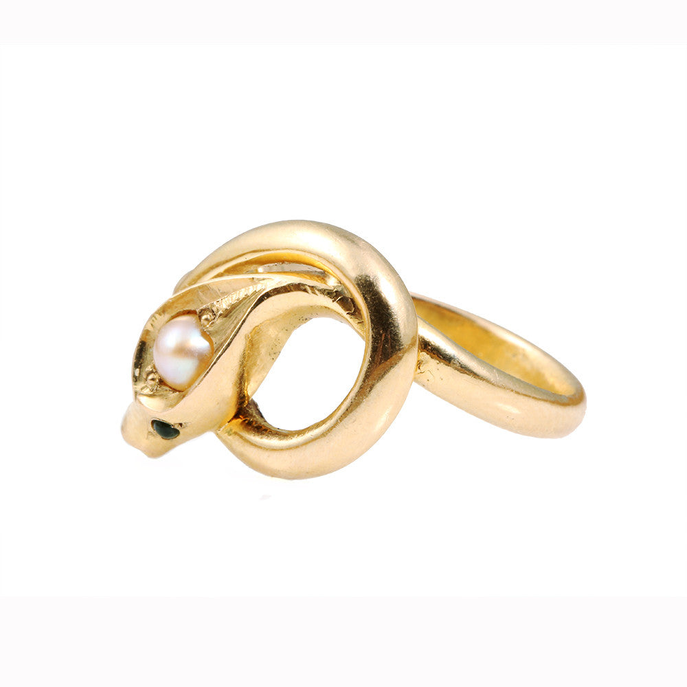 Victorian Era Pearl Gold Snake Ring