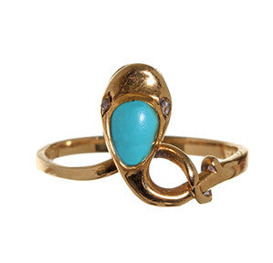 Victorian Persian Turquoise Snake Ring