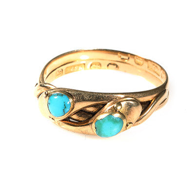 Victorian Turquoise Twin Snake Ring