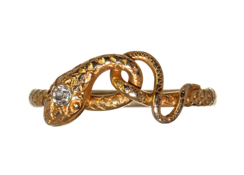 Edwardian Gold & Diamond Snake Ring