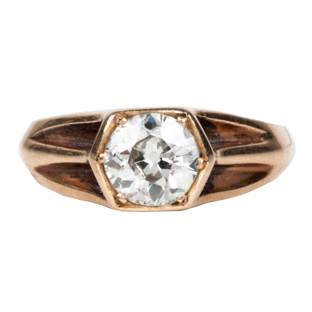 Old European Cut Diamond in Rose Gold Hexagon Ring