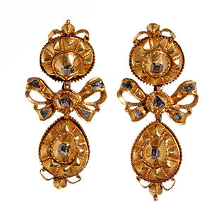 18th Century Spanish Table Cut Diamond Earrings