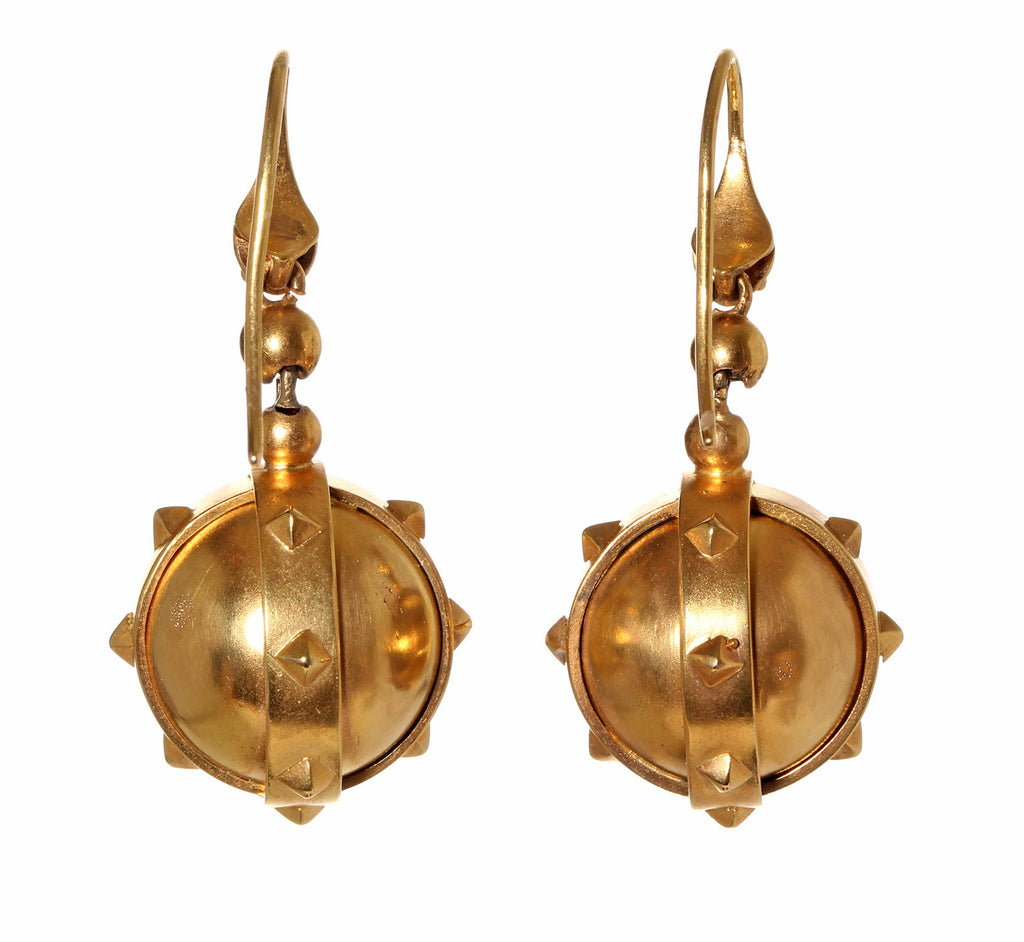 Victorian Snake and Mace Gold Earrings