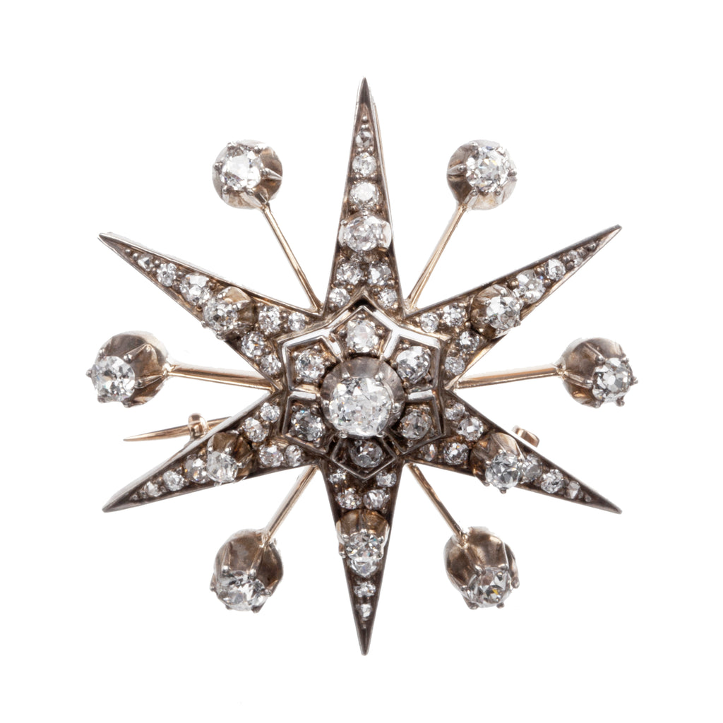 Victorian Era Old Mine Cut Diamond Starburst Pendant