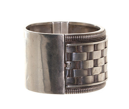 Victorian English Wide Sterling Silver Basket Weave Bangle