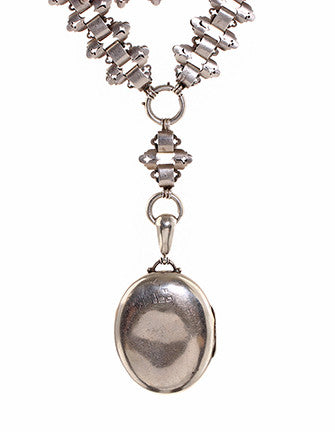 Victorian Era English Sterling Silver Locket and Collar Necklace
