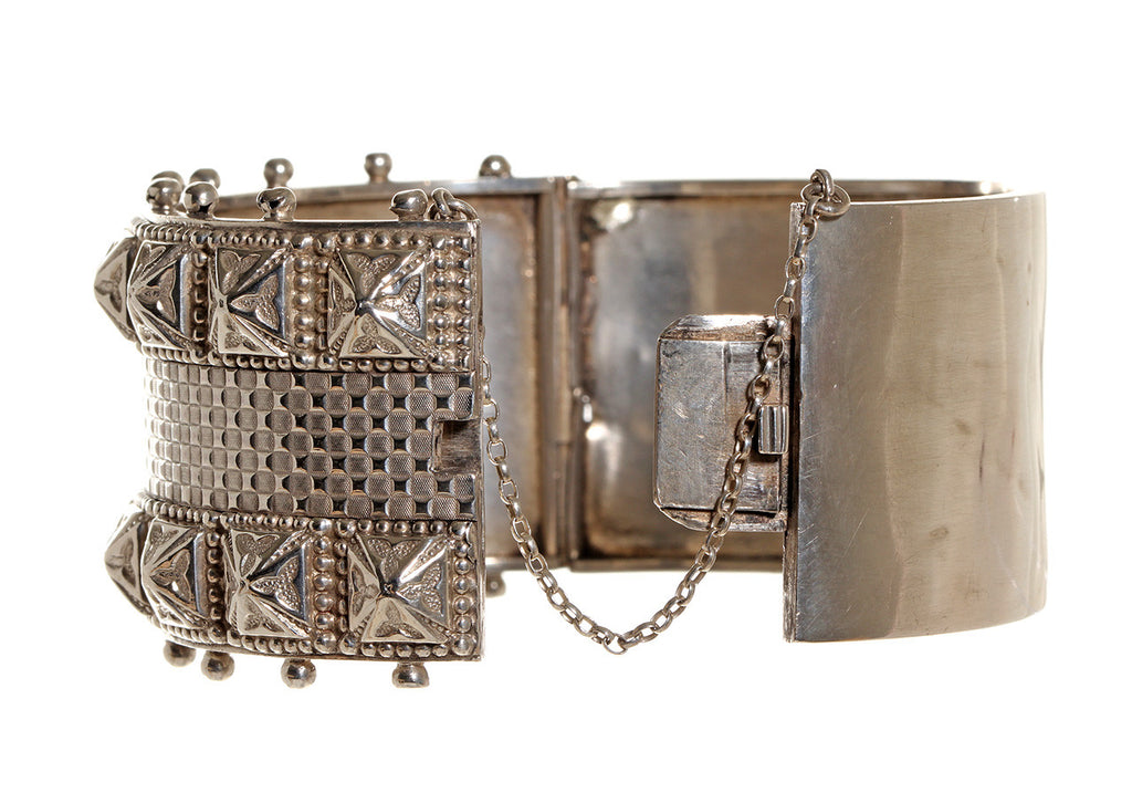 English Sterling Studded Bangle Circa 1880's