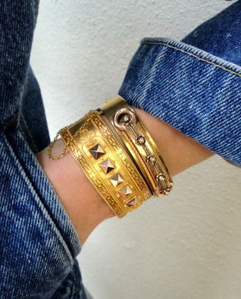 Studded Victorian Gold Bangle