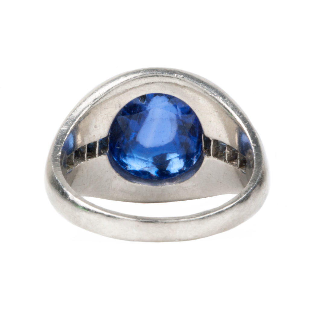Early 20th Century Sapphire Ring with 5 Carat Unheated Sugar Loaf Cabochon