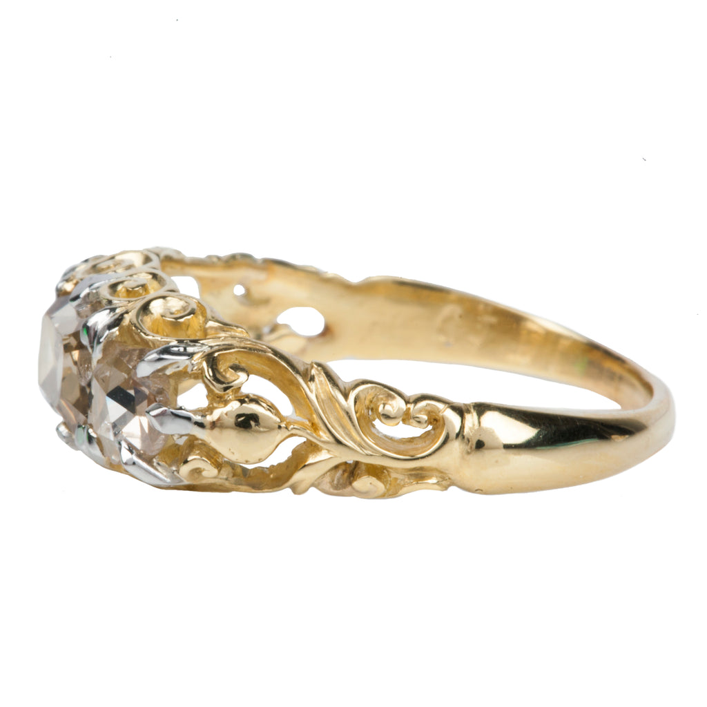 Victorian Table Cut Diamond Three Stone Ring