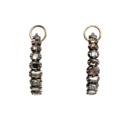 Georgian Table Cut Diamond Poissarde Earrings