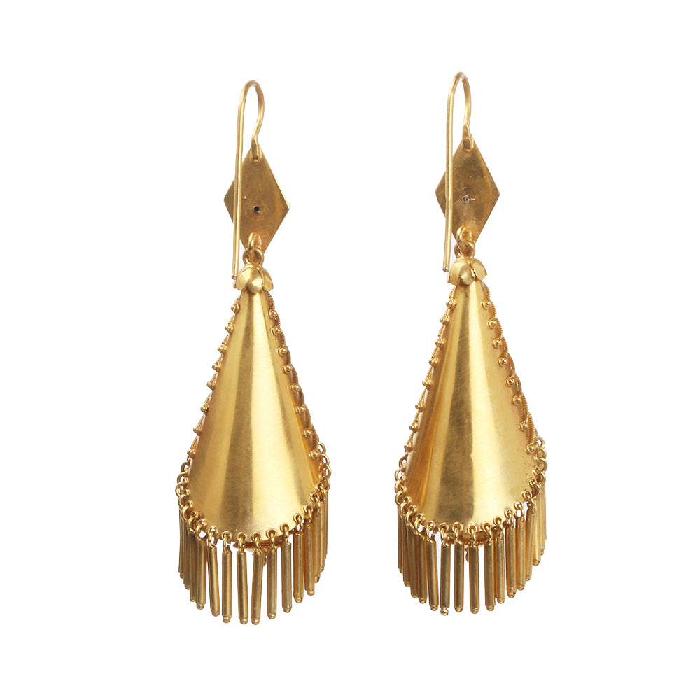 19th Century Gold Tassel Earrings