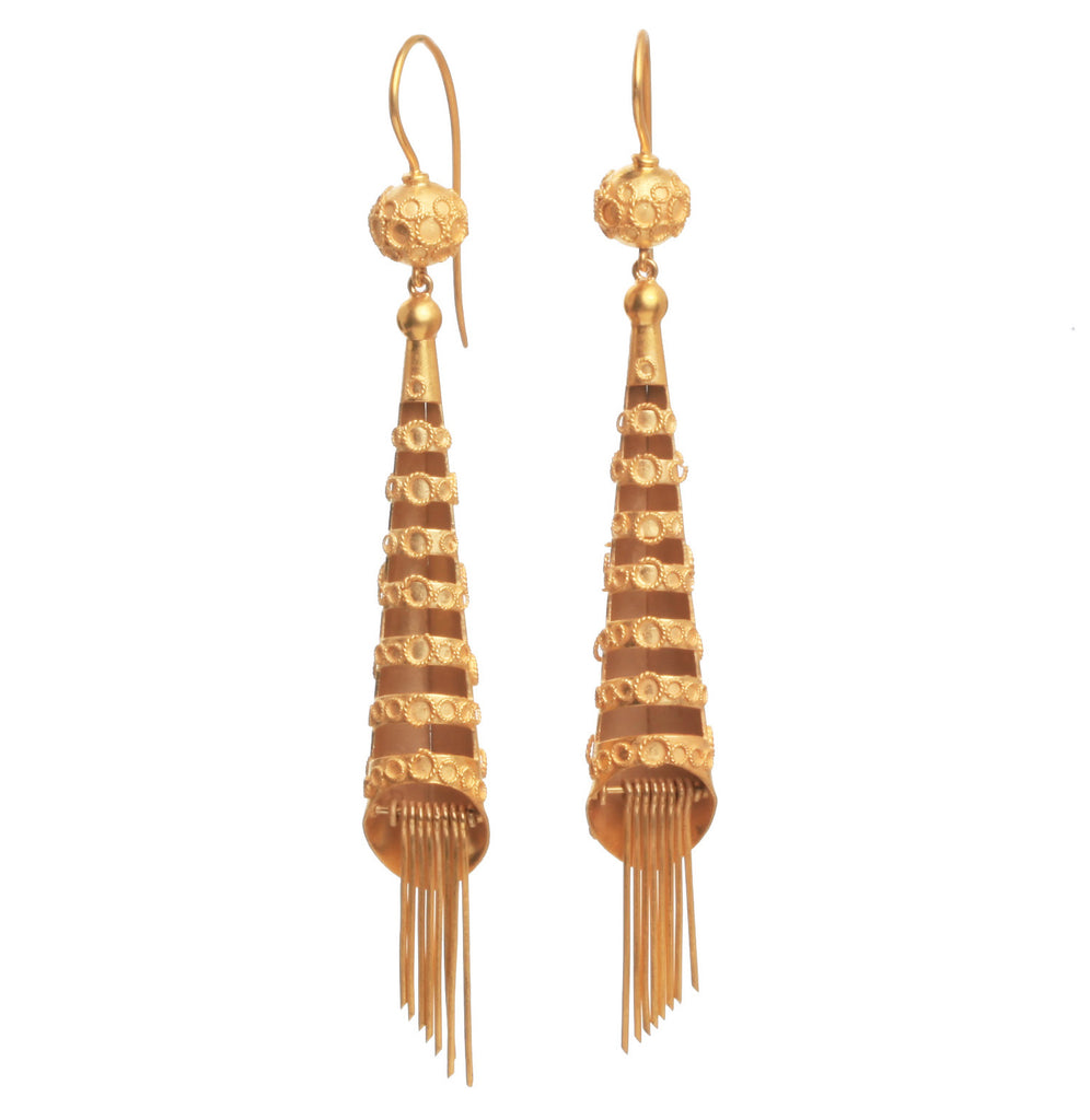 Early Victorian Pinchbeck Tassel Earrings