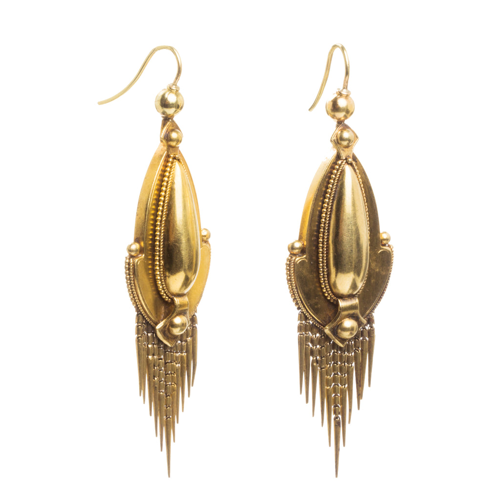 Victorian Era Gold Fringe Earrings