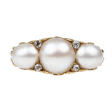 Victorian Three Stone Pearl and Diamond Ring