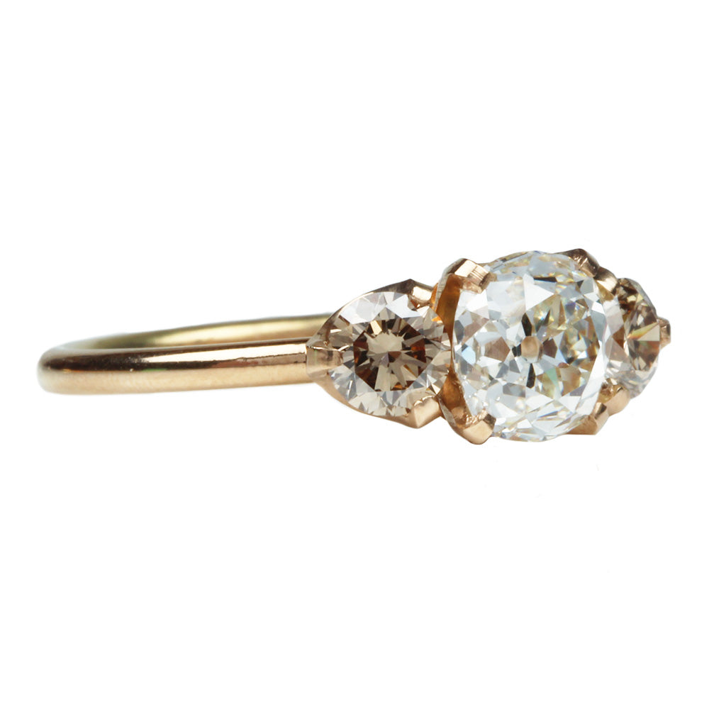 Three Stone Ring with Old Mine Cut and Champagne Diamonds
