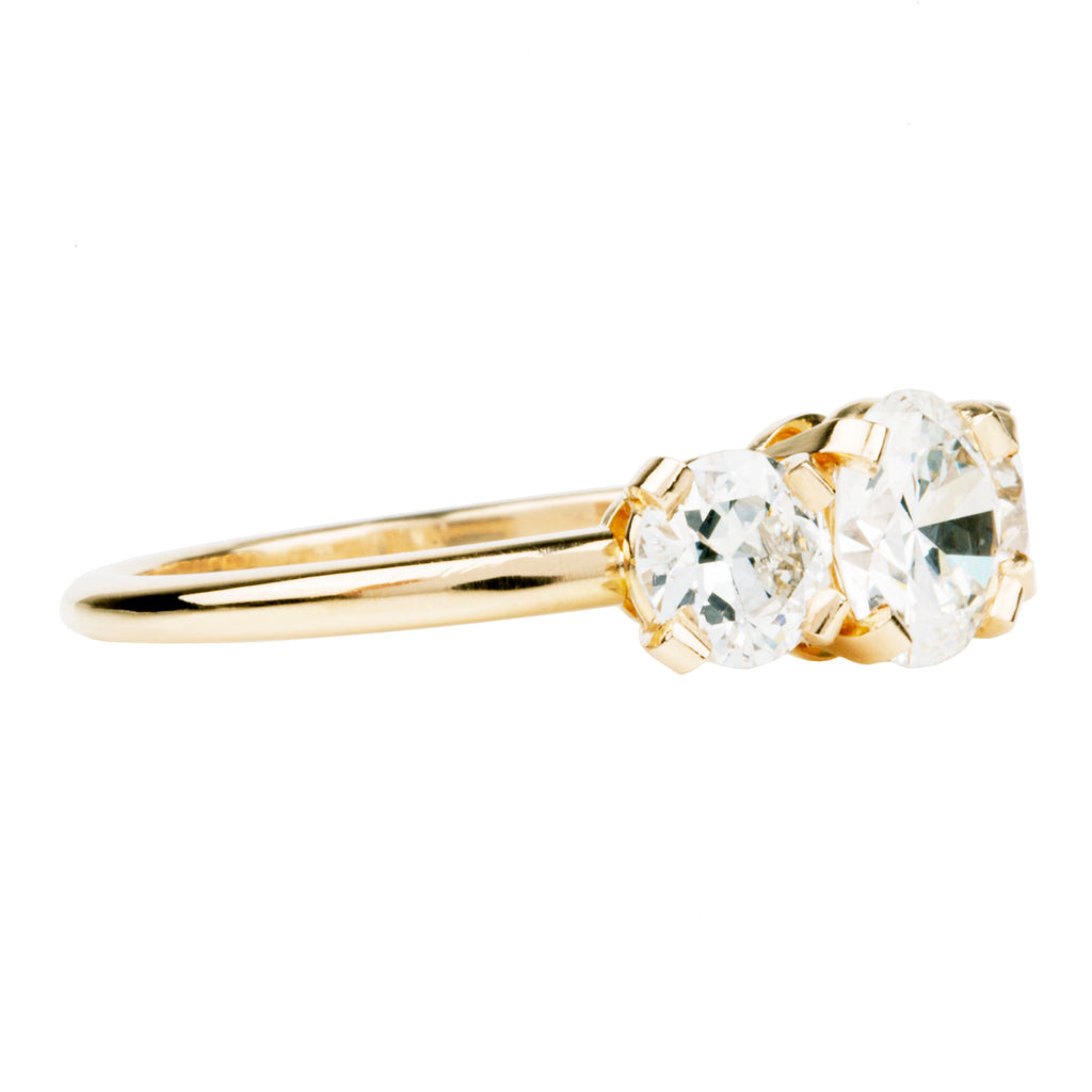Tab Prong Three Stone Ring with Old European Cut Diamonds