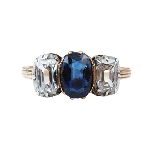 Victorian Three Stone Diamond & Sapphire Ring