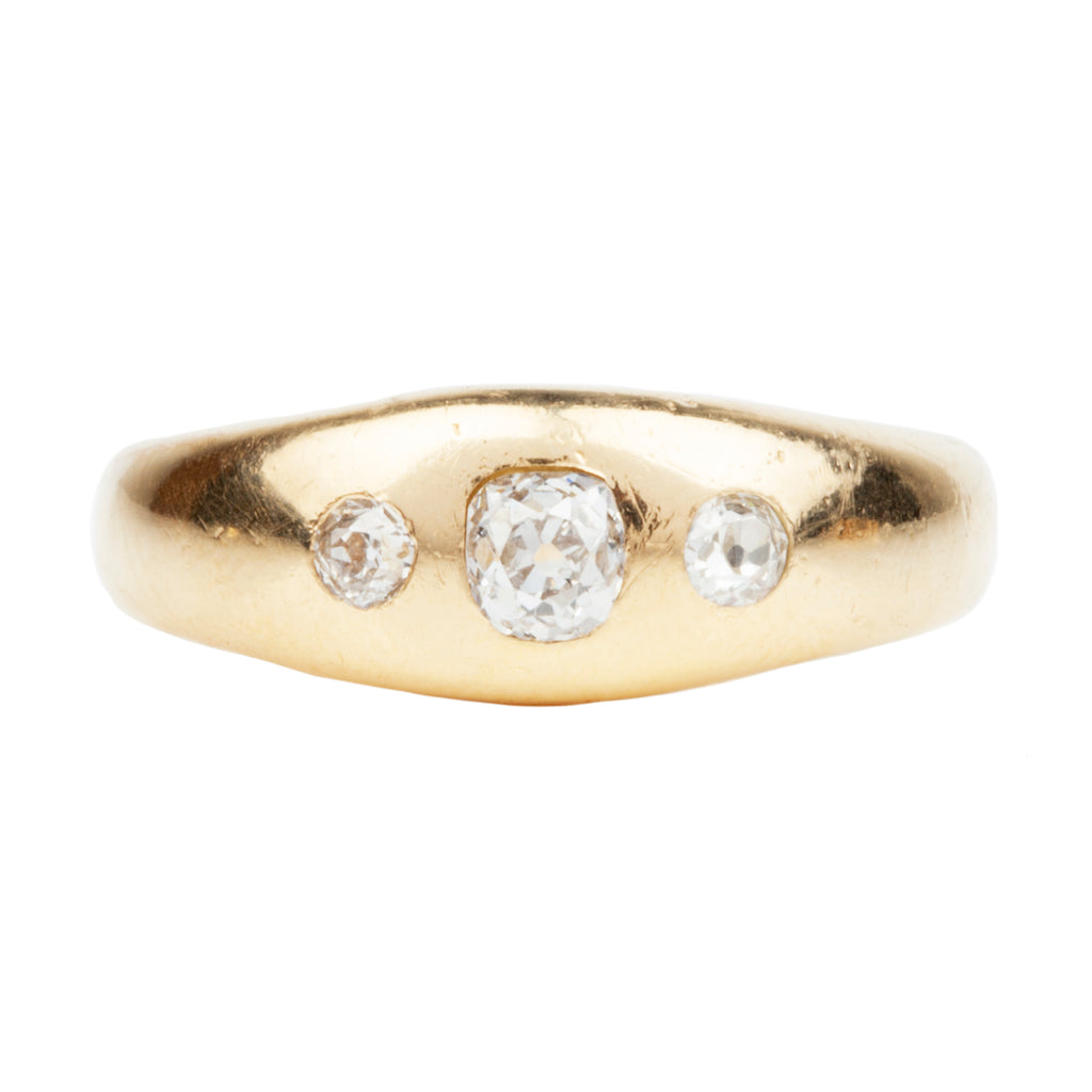Late Victorian Era Three Stone - Old Mine Cut Diamond Ring